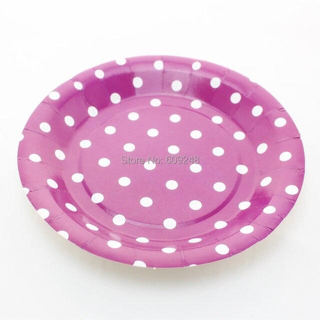24pcs 9\  Birthday Wedding Holiday White Polka Dot Purple Paper Plates Bulk Round Party Dessert Paper Dishes Wholesale  sc 1 st  Aliexpress & Online Shop 24pcs 9\