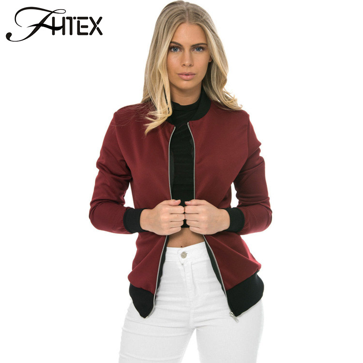 Autumn Brief Cool   Basic   Bomber   Jacket   Women Color Block Patchwork Casual Slim   Jacket   Coat Zipper Outwear chaquetas mujer
