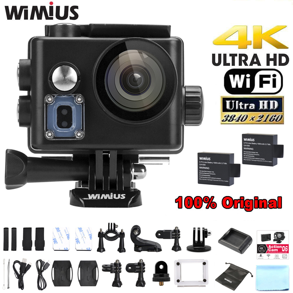 Wimius Q6/Q6 Plus WIFI 4K Action Camera Sports Helmet Cam 170D Wide Angle DVR Full HD 1080P 60FPS Go Waterproof Pro+ Accessories eken mini sports action cameras h9 h9r wide angle 4k 25fps hd video helmet cam 2 0 go underwater pro vr go pro cameras
