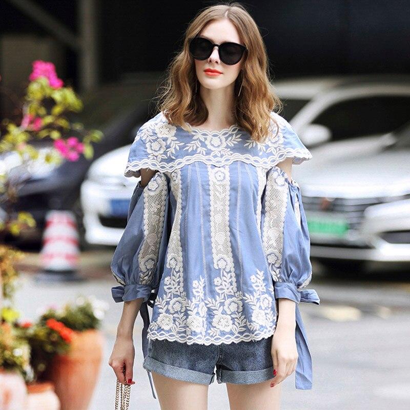À la mode femmes broderie floral coton épissure gaze blouse chemise printemps bleu lanterne manches tempérament petit haut S-XL
