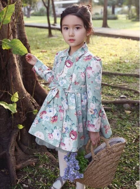 Crianças dos miúdos meninas floral vento casaco à prova de vento Primavera/Outono meninas Do Bebê jaqueta de manga longa casaco de vento 3-10 anos