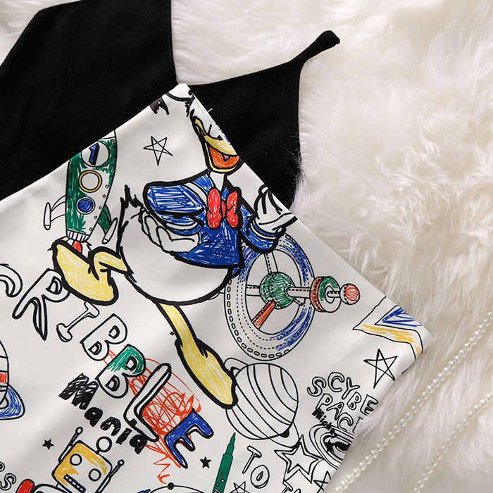 S-XL 7Mang 2019 High Waist Cartoon Print Skirt Street Knee Length Skirts Women Harajuku Kwaii Stretchy Waist Pencil Skirt 0523