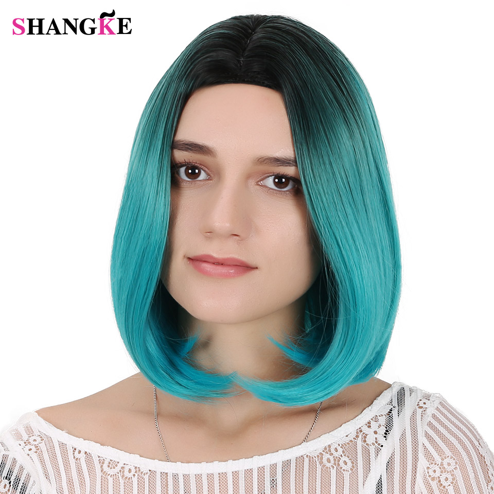 SHANGKE 8 Colors Brown Blue Ombre Straight Bob Short Hair Cosplay Wigs For African American Women Synthetic Heat Resistant