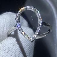 Hueco forma de pera promesa anillo 100% SOILD 925 joyería de plata esterlina aaaaa ZIRCON CZ compromiso banda de boda anillos para las mujeres