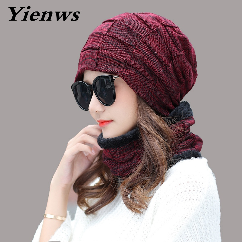 Yienws Women Winter Hat Knitted Beanie Female Neck Warmer Skullies And Beanies Casual Mask Ski Caps Warm Hats Gorro YIC557 stand collar florals print splicing zip up padded jacket