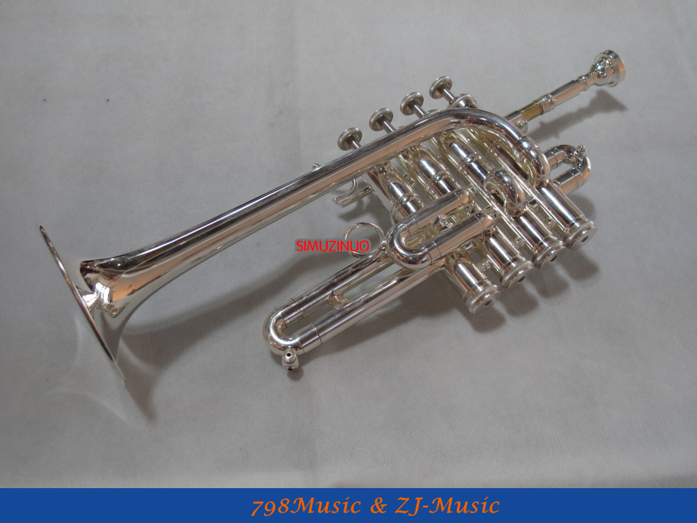 NEW Silver Plated Piccolo Trumpet Bb/A horn 4 Monel valves With Case silver plated double french horn f bb 4 key brand new with case