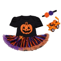 3pcs Set Halloween Pumpkin Infant Clothing Girls Outfits Baby Newborn Boutique Clothes Tutu Dress with Baby Headband Jumpsuit