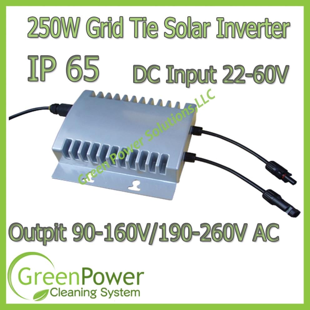 Out Door Installation Design IP65 Water Proof On Grid Tie Solar Power Inverter 250W 22-60VDC 190-260VAC / 90-160VAC