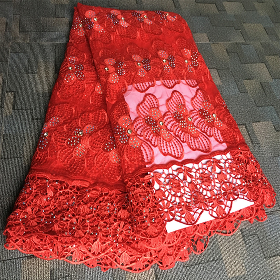 wholesale Nigerian french lace fabric 2017 latest African Embroidered lace fabric for Nigerian Evening party dress stones MM-26a