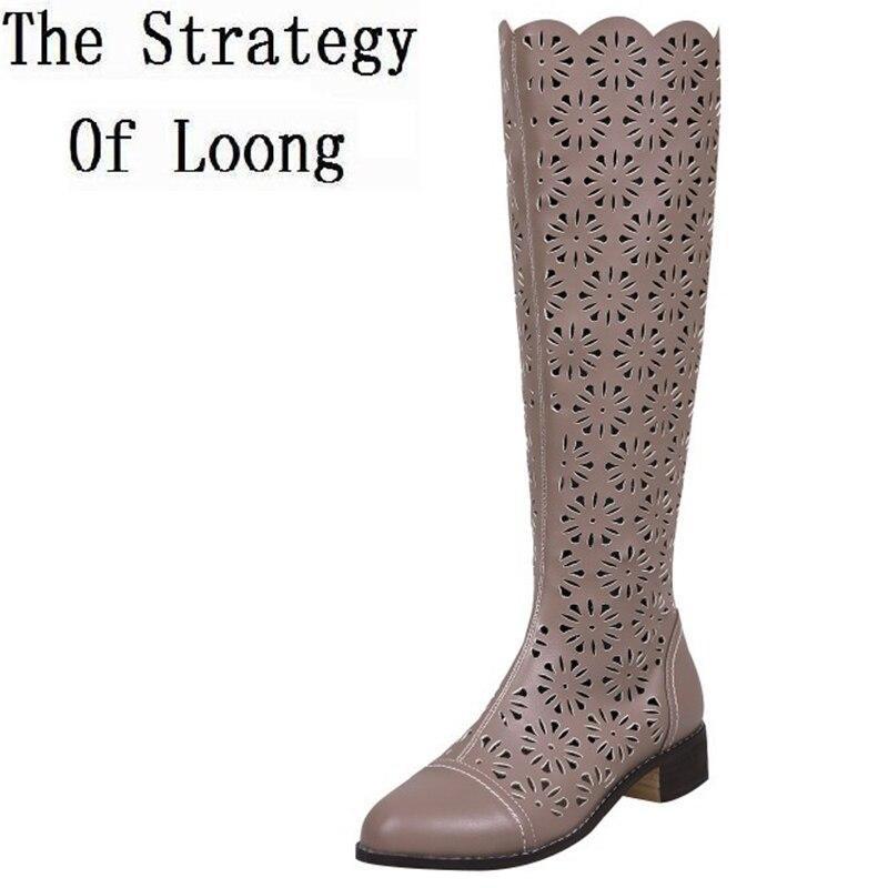 Echtes Leder Low Heels Frauen Cut Out Knie Hohe Sandalen Stiefel Frau Ritter Sommer Lange Ausschnitt Mode Stiefel Größe 34  39 SXQ0509-in Kniehohe Stiefel aus Schuhe bei  Gruppe 2