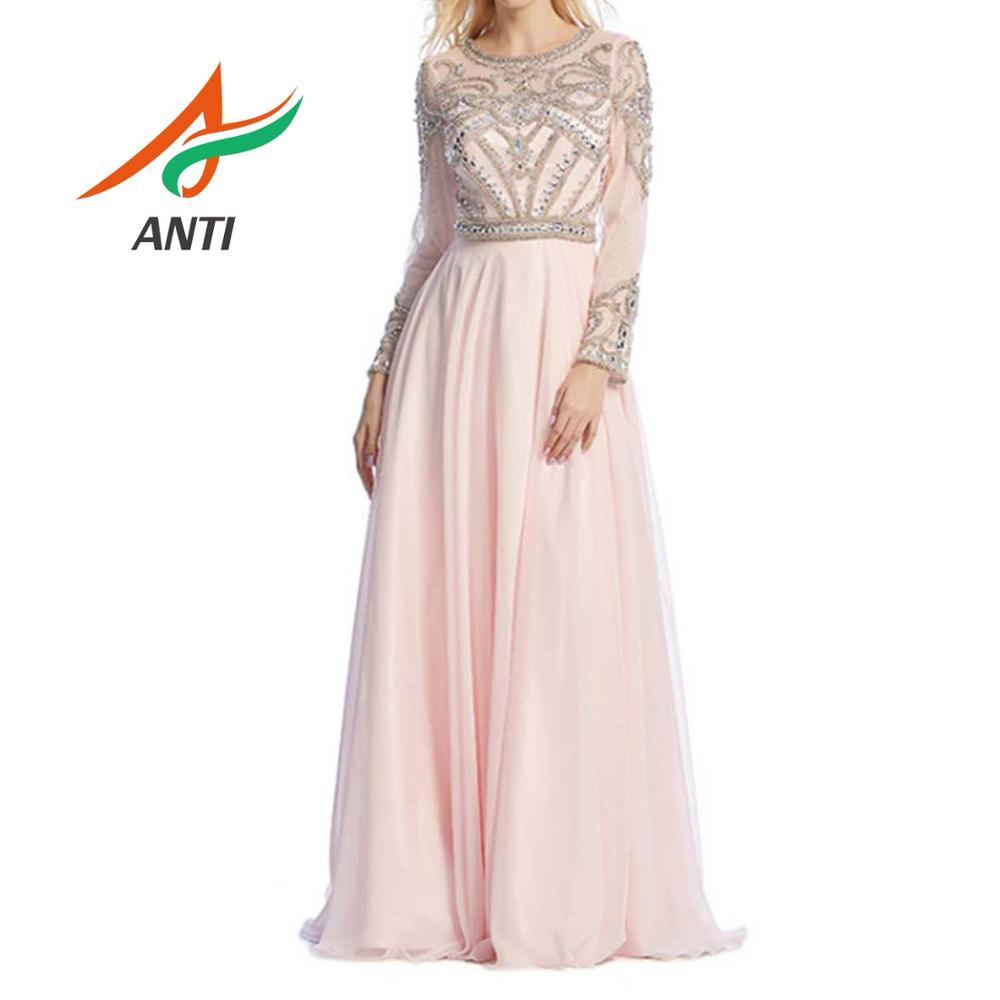 ANTI étincelle exquise rose Scoop cou robes de soirée longueur de plancher manches longues perles cristal Tulle robes formelles sur mesure