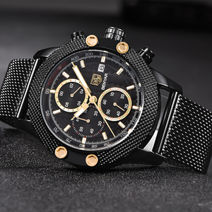 Image 5 - BENYAR Sport Chronograph Fashion Watches Men Mesh & Rubber Band Waterproof Luxury Brand Quartz Watch Gold Saat dropshipping