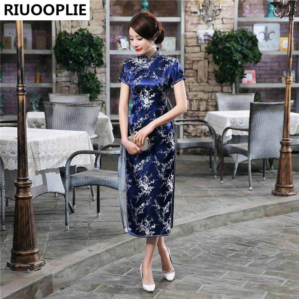 RIUOOPLIE Style Chinois Traditionnel Robe Femmes Long Cheongsam - Vêtements nationaux - Photo 1