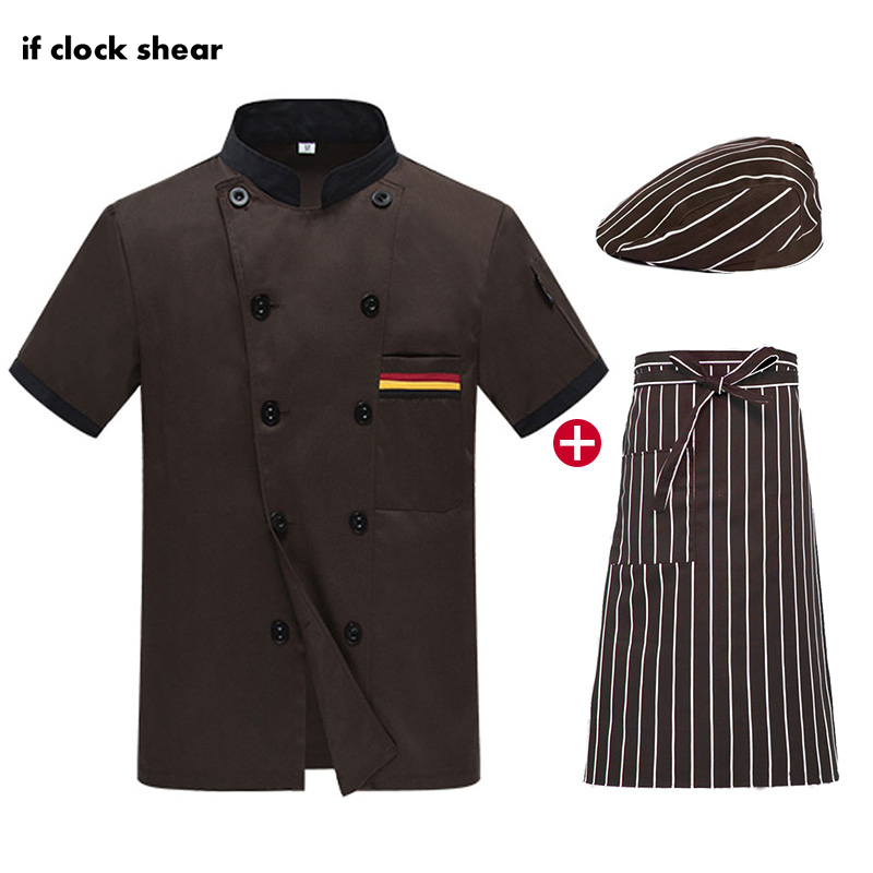 High Quality Unisex Short Sleeve Chef Jackets Catering Work Clothes Chef Hat Apron Restaurant Chef Uniforms New Wholesale M-4XL