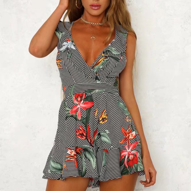 Deep V Flower Print Europe and America Ruffled Print Halter Sexy Bandages Jumpsuit Shorts