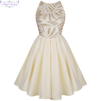 Angel Fashions Backless Sequin Pleat Formal Ball Gown Homecoming Dress Champagne 364