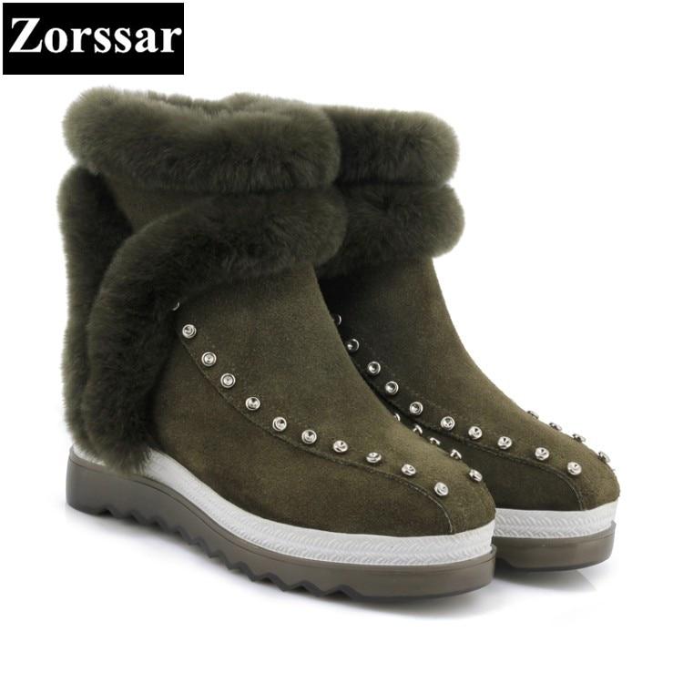 Nuevo Mujer {zorssar} Piel Botas Nieve Vaca Zapatos verde Mujeres Cuero Las Negro Militar Plataforma Tobillo Ante Invierno De Clásico 2017 Rqxwr7A5q