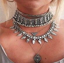 2016 New Vintage Crystal Choker Necklace Boho Neck Rhinestone Collar for Women Maxi Tatoo Chocker Gothic Bijoux Collier Jewelry