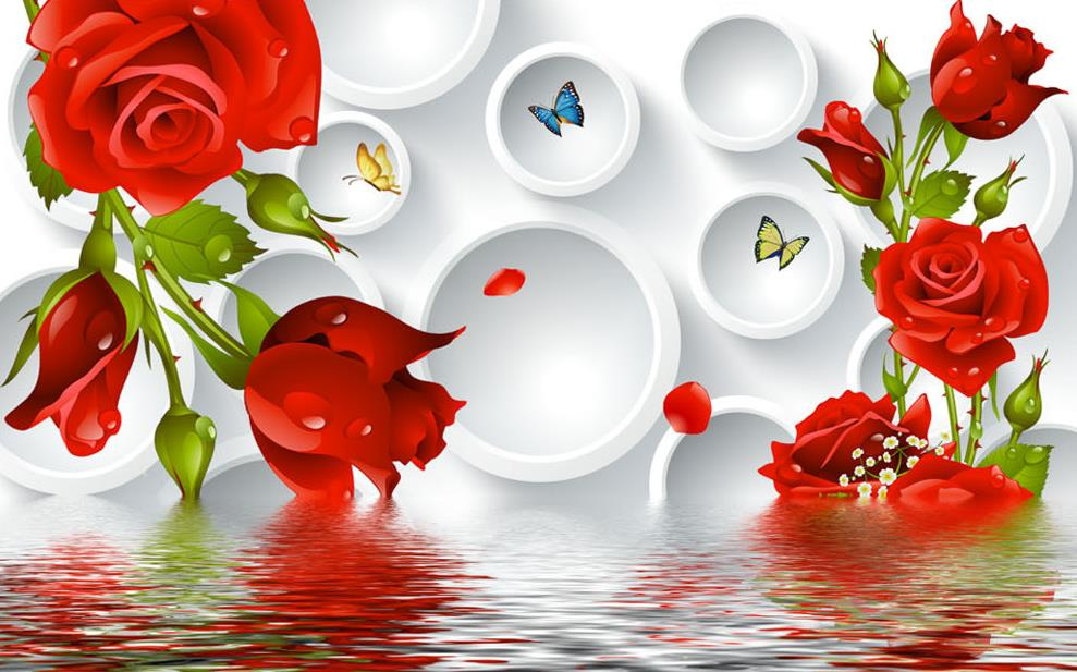 3d Tv Backdrop Roses Circle Water Stereoscopic 3d Wallpaper 3d