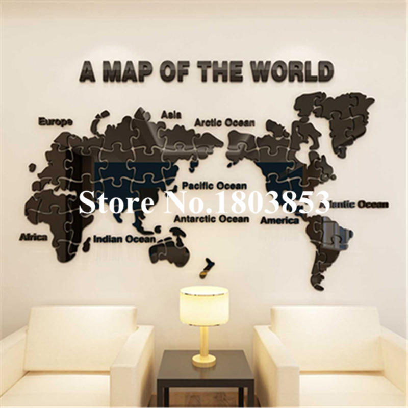 New puzzle puzzle Map 3-dimensionale Crystal Acrylic Wall stickers - Dekor në shtëpi - Foto 3