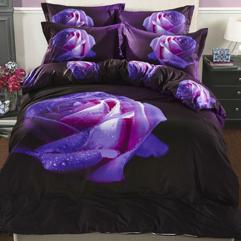 Purple Rose 3D Bedding Sets 100% Cotton Flower Duvet Cover Bed Sheets Bedlinen Double Queen Size 4PCS