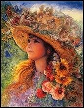 مجموعة تطريز على شكل قبعة بناتي أعمال تطريز يدوية الصنع ذاتية الصنع للتطريز 14 طقم بغرز متقاطعة DMC ملونة