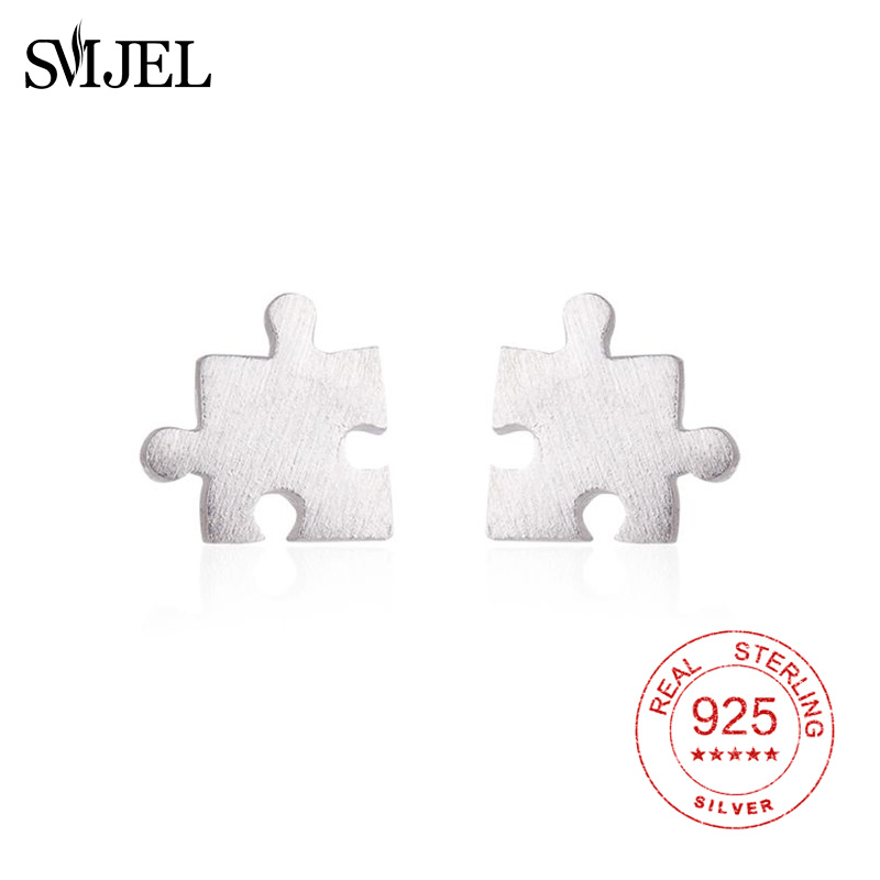 925 Sterling Silver Puzzle Stud Earrings