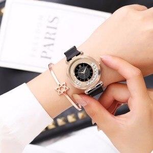 Image 2 - ホットファッション女性マグネットバックルフルダイヤモンドの腕時計高級レディースステンレス鋼クォーツラインストーン腕時計時計レロジオ Feminino