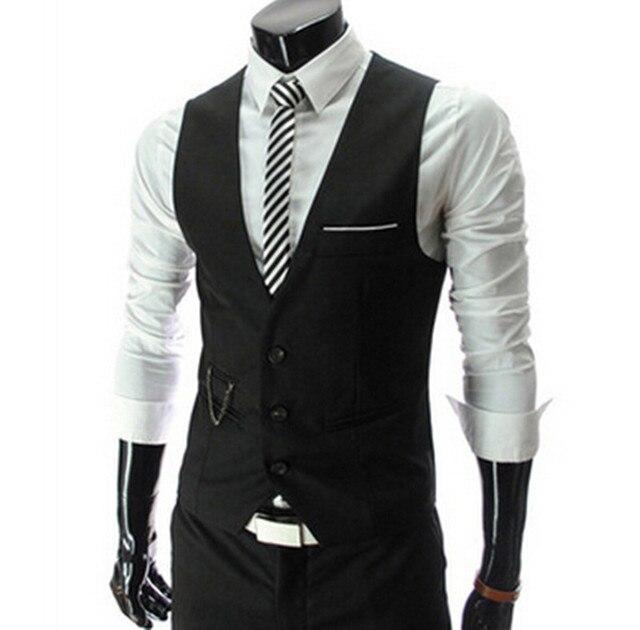 2017 Autumn Vest men Slim Brand Men's Slim Fit Dress Suit Vest Waistcoats Men Gilet Colete Fashion chaleco Hombre