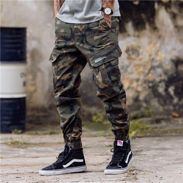 Calças de Carga Bolsos Laterais Masculinos Moda Streetwear Camuflagem Jogger Calças Casuais Treino Fitness Esportivas