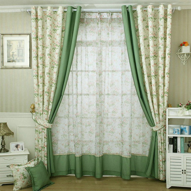 modern style small floral printed curtain for kitchen blackout green curtains window drape. Black Bedroom Furniture Sets. Home Design Ideas