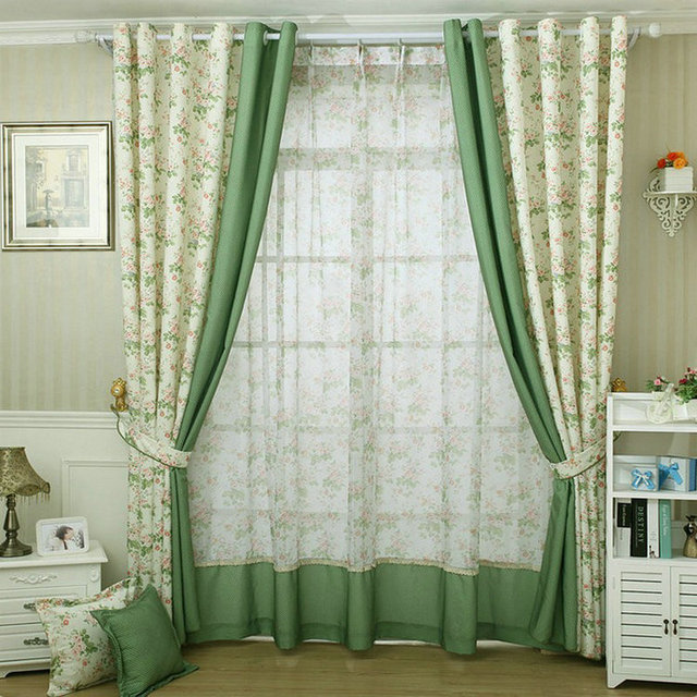 Modern Style Small Floral Printed Curtain For Kitchen Blackout Green Curtains Window Drape