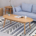 Nordic Japanese contracted and contemporary small family white oak solid wood tea table oval coffee table sitting room wood furn