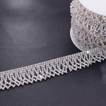 5 yards Luxury silver full rhinestones wedding evening dress sew on patches sash sewing crystal DIY bridal decorations
