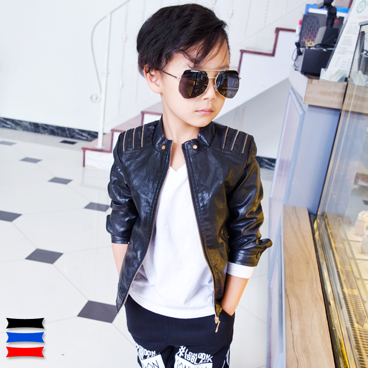 2015 autumn male child leather jacket child leather clothing outerwear PU jacket