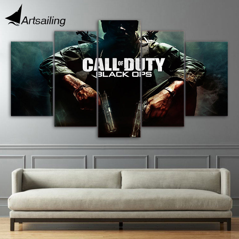 5 piece canvas art HD print call of duty black ops home decor paintings for living room wall free shipping UP-2090B