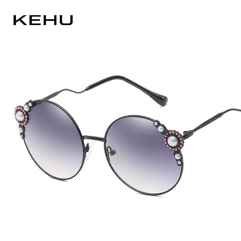 25e26f6191 KEHH Women Fashion Round Sunglasses Oversized Sunglasses Pearl Lace Frame  Curved Eyrglasses Legs UV400 Sun Glasses Women K9630