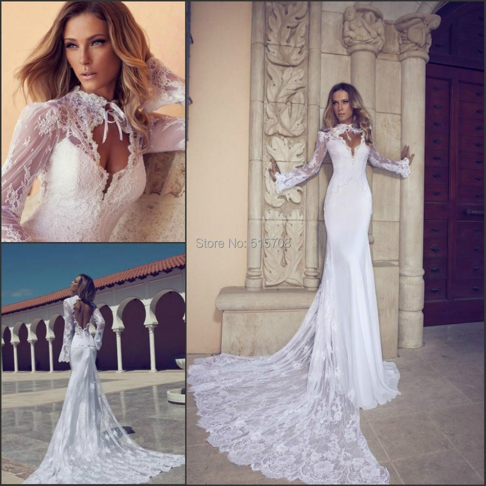 New Design Mermaid Wedding Dress Train Fit And Flare Lace High Neck Long Sleeves Front Sheer Bridal Gown In Dresses From Weddings Events On