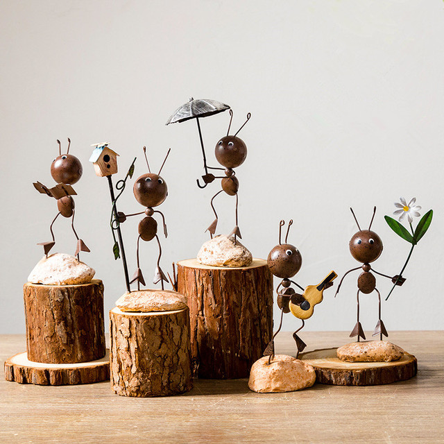 pastoral style iron beatle ant figurines cute animal simple are made