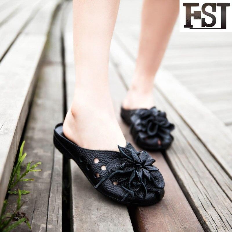 Schuhe Fsj Damen Fsj01 fsj02 Echtem Schwarz Mode Außerhalb Leder herbst 2019 Hausschuhe Blume Mit Reife Flache Sommer Frühling Dias 0wTSq0ar