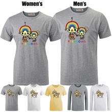 Cute rainbow Robot family Funny Pattern Printed T Shirt Men s Boys Graphic Tee Tops Grey