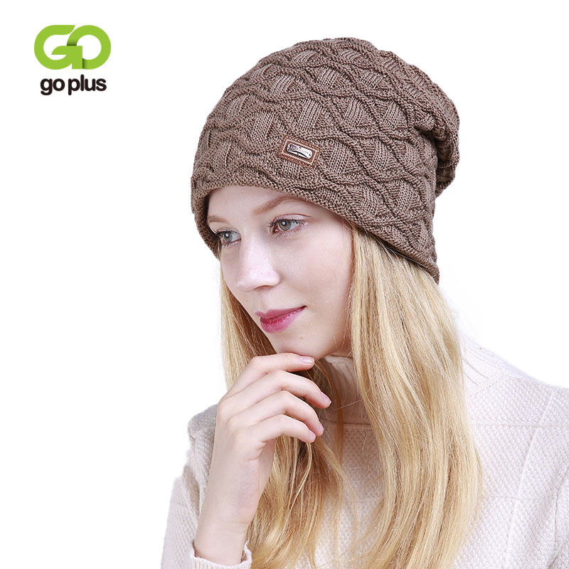 GOPLUS 2019 Spring Winter Knitted Hat Women Fashion Flocking Brand For Girl Hip Hop Skullies Beanies Cotton Warm Caps Female