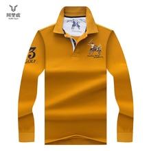 Hollirtiger Yellow Men 2019 Fashion Camisa Polo Shirts Long Sleeve Mens Polo Collar Shirt Brands Breathable Men's Tee Tops
