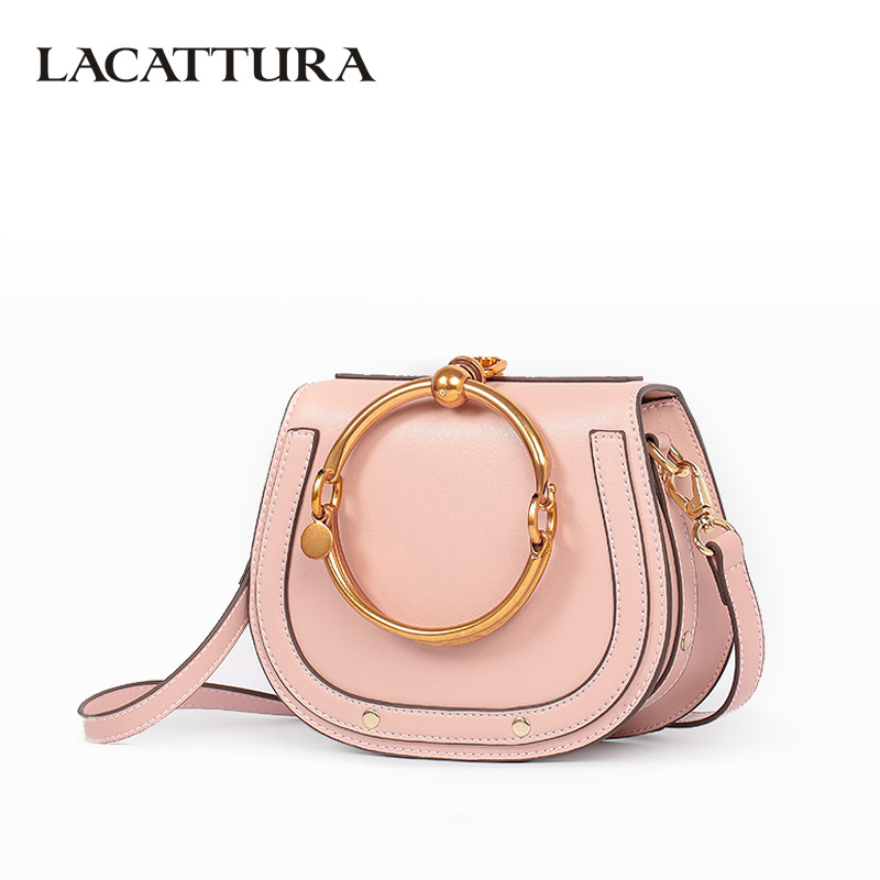 LACATTURA Luxury Handbag Women Leather Shoulder Bag Small Wristlets Saddle Messenger Bags Lady Clutch Crossbody Bag for Girls handbag