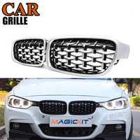 MagicKit A Pair Front Kidney Grille For BMW New 3 Series F30 F35 Chrome Diamond Sedan Grille Meteor Style Front Bumper Grille