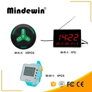 Mindewin restaurante llamada inalámbrica digital Sistema M-R-1 1 unid + 4 piezas M-W-1 multifunción reloj inteligente + 35 piezas m-K-3 botón