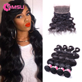 MSU Pre Plucked Frontal Closure with Bundles 7A Grade Peruvian Virgin Hair Body Wave with 360 Lace Virgin Hair Frontal Closure