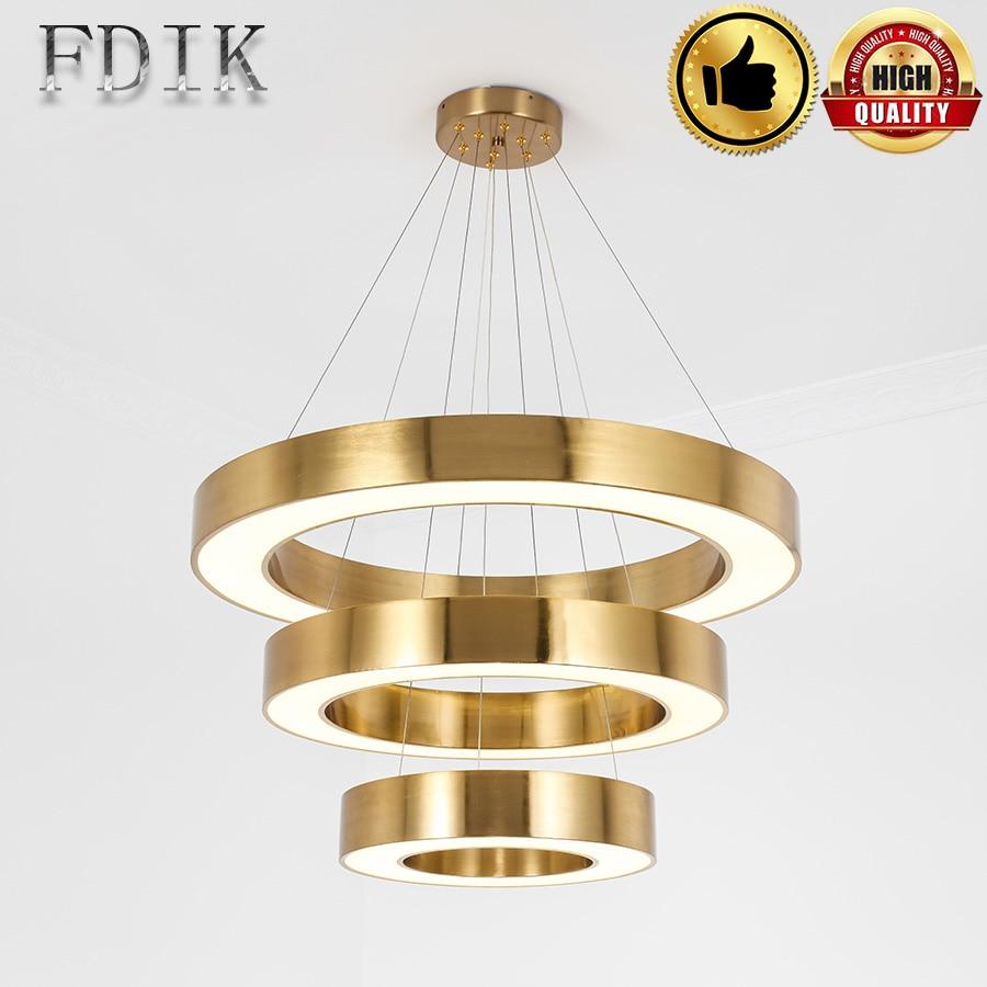 Светодиодный подвесной светильник золотого цвета, современный для столовой, гостиной, гостиничного номера, 40 см 120 см, круглые кольца, светодиодный светильник
