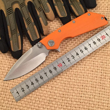 WTT D2 Blade Tactical DOC Folding Knife With 3 Colors G10 Handle Hunting Outdoor Camping Knife Survival Knife EDC Utility Tools