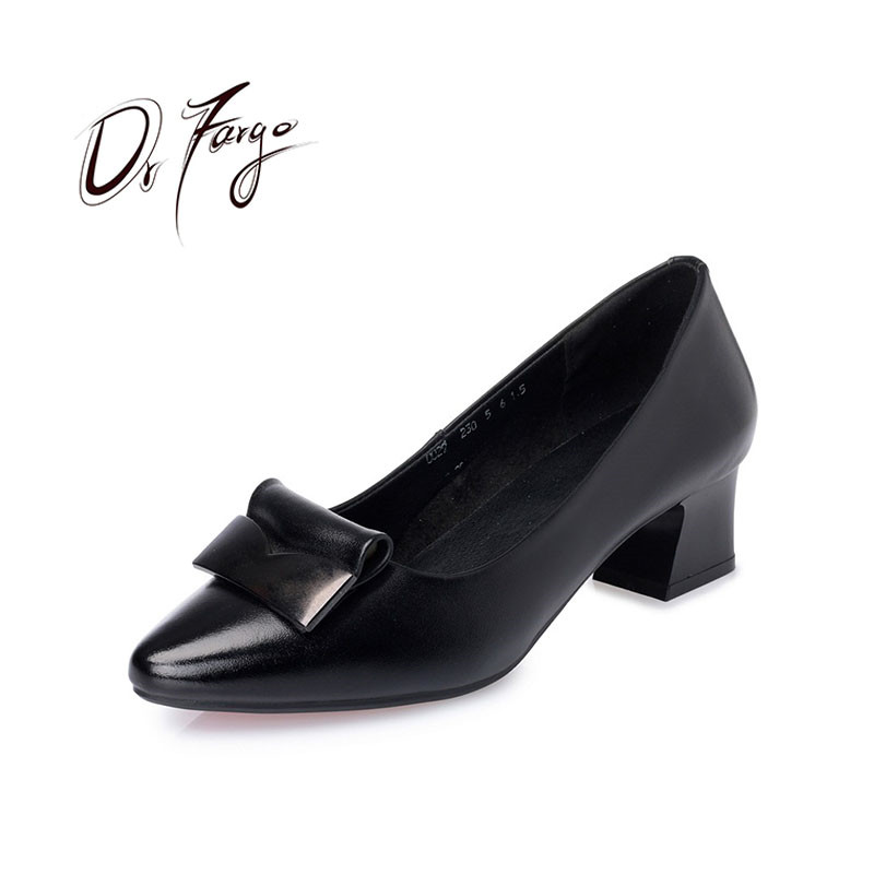 DRFARGO Genuine Leather Shoes Women Block Square Heel Black Pointed Toe Pumps Shallow Low Heel Office Lady work shoes size 35-42 korean woman high heel pointed toe solid mujer pumps shallow mouth square heels womens shoes work office lady all match tacones